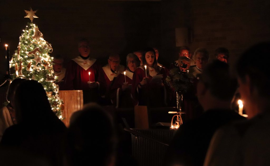Senior Choir at the Christmas Eve service.