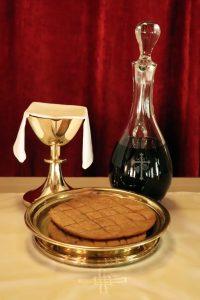 Communion bread and wine.